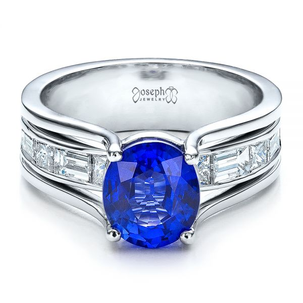 Platinum Custom Oval Blue Sapphire Engagement Ring - Flat View -