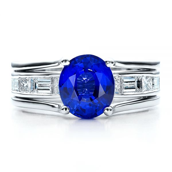Platinum Custom Oval Blue Sapphire Engagement Ring - Top View -