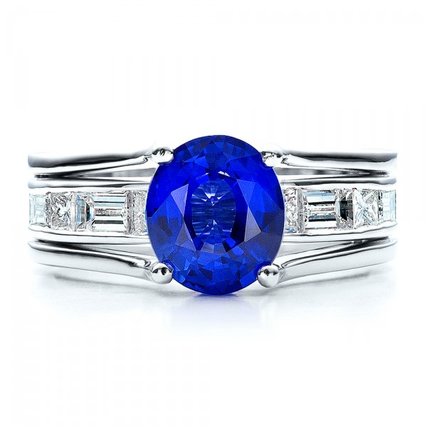 Custom Oval Blue Sapphire Engagement Ring - Top View