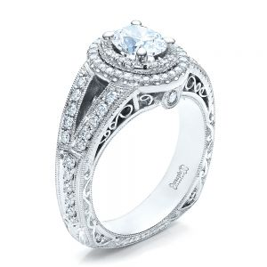 Custom Oval Diamond Engagement Ring - Image