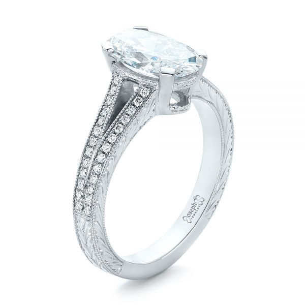 Platinum Custom Oval Diamond Engagement Ring - Three-Quarter View -