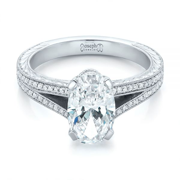 Platinum Custom Oval Diamond Engagement Ring - Flat View -