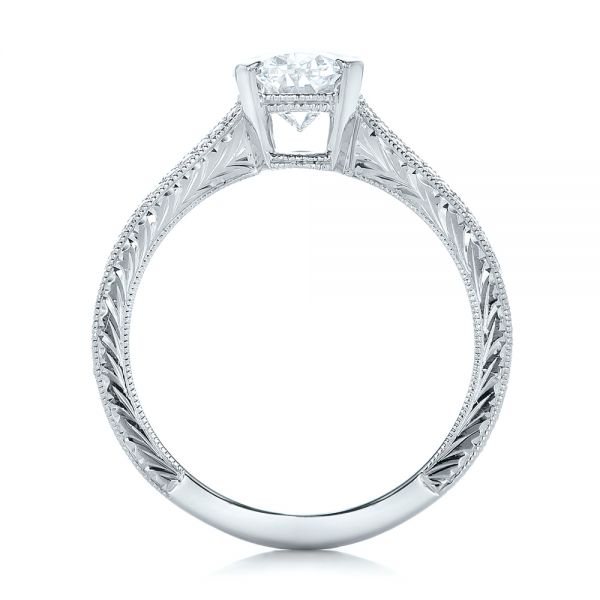 Platinum Custom Oval Diamond Engagement Ring - Front View -