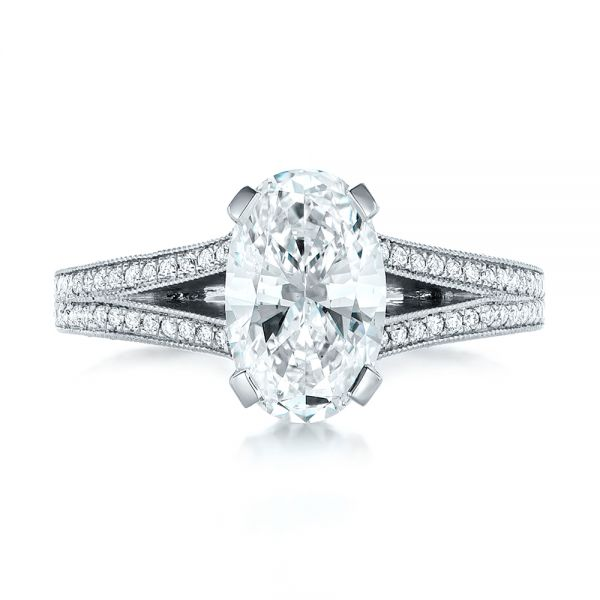 Platinum Custom Oval Diamond Engagement Ring - Top View -