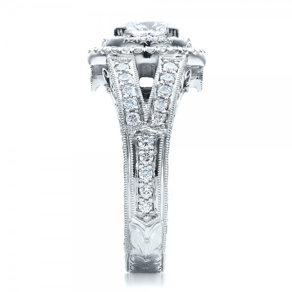 Custom Oval Diamond Engagement Ring - Side View