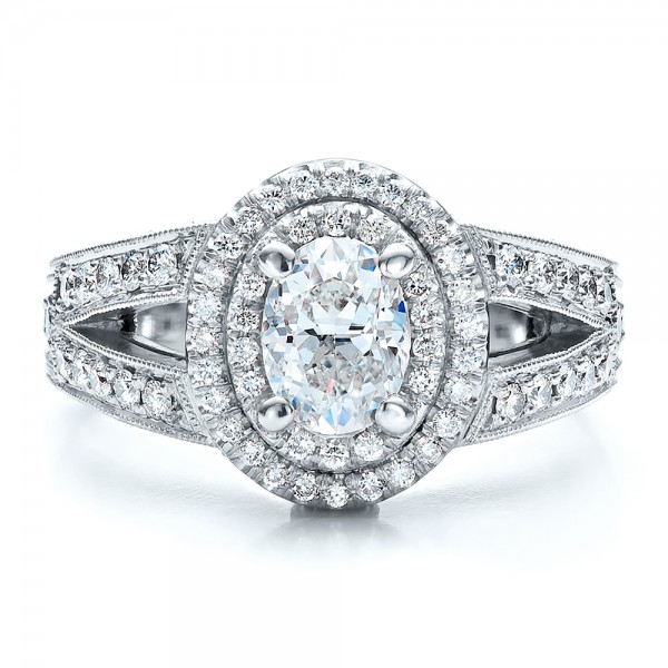 Custom Oval Diamond Engagement Ring - Top View
