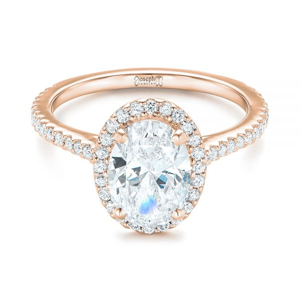 14k Rose Gold Custom Oval Diamond And Halo Engagement Ring