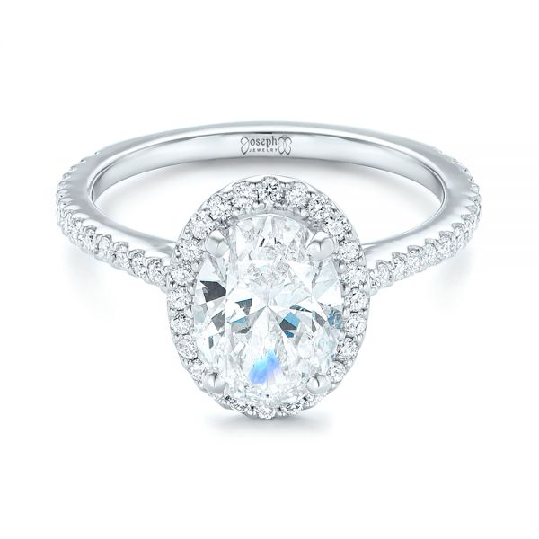 Platinum Custom Oval Diamond And Halo Engagement Ring - Flat View -