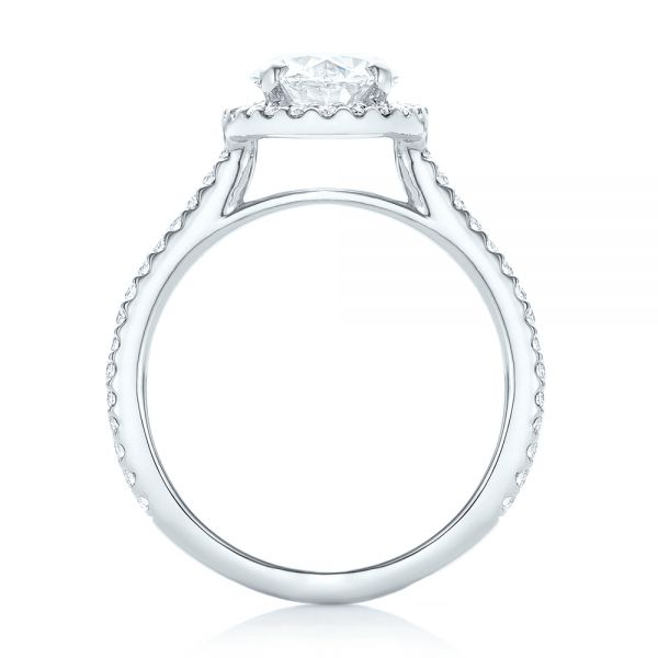 Platinum Custom Oval Diamond And Halo Engagement Ring - Front View -