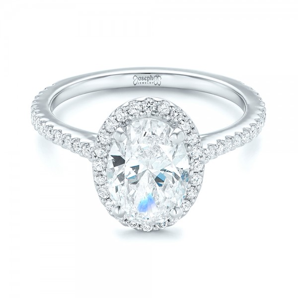 Custom Oval Diamond and Halo Engagement Ring