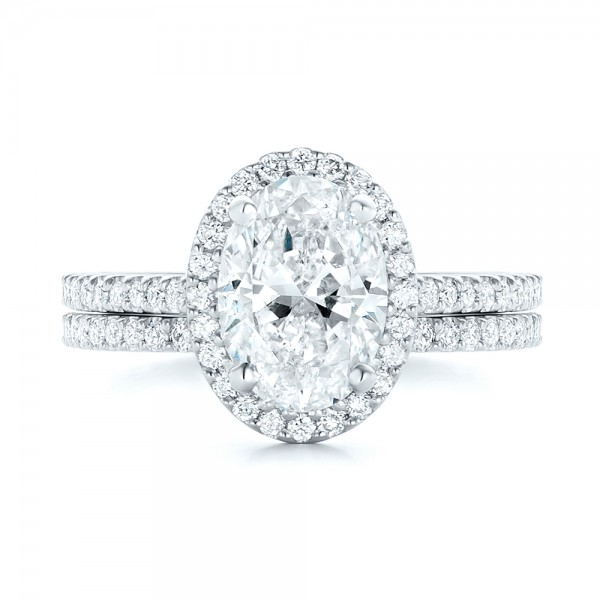 Custom Oval Diamond and Halo Engagement Ring - Image