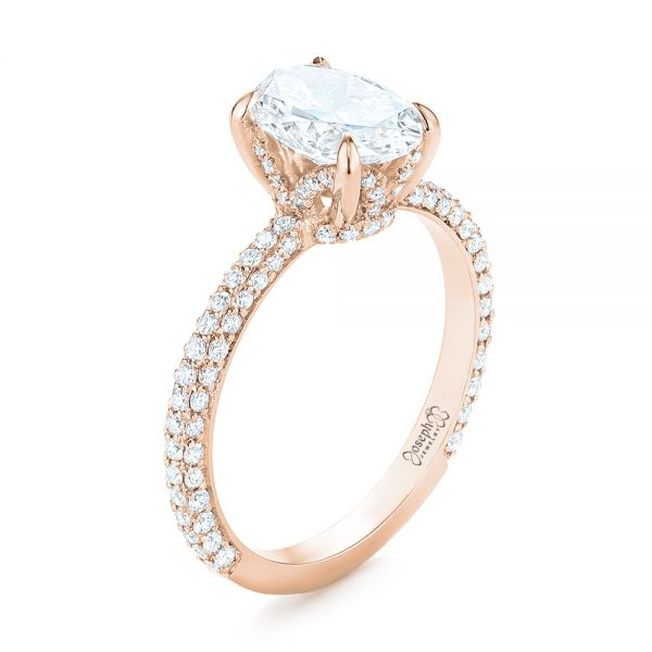 14k Rose Gold 14k Rose Gold Custom Pave Diamond Engagement Ring - Three-Quarter View -  104689 - Thumbnail