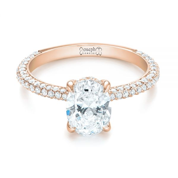 14k Rose Gold 14k Rose Gold Custom Pave Diamond Engagement Ring - Flat View -  104689 - Thumbnail