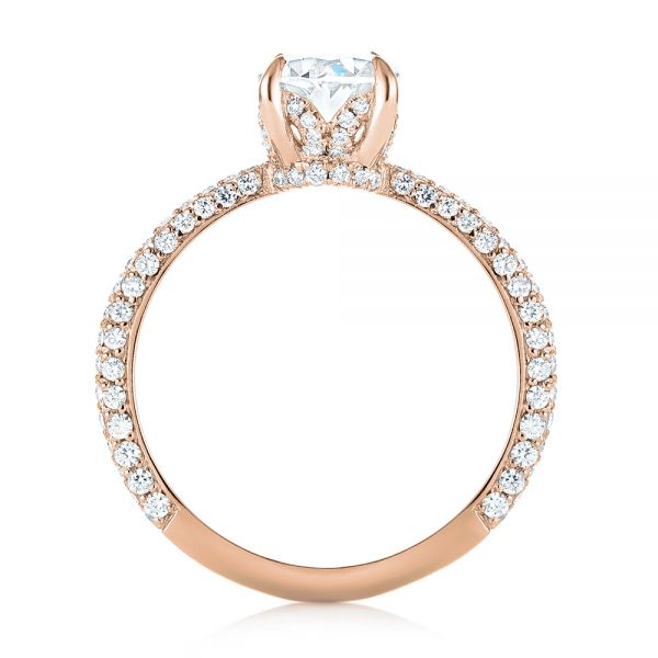 14k Rose Gold 14k Rose Gold Custom Pave Diamond Engagement Ring - Front View -  104689 - Thumbnail