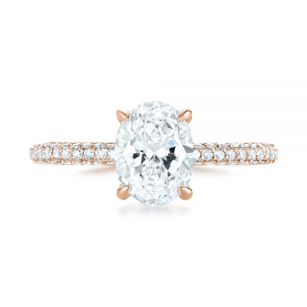 14k Rose Gold 14k Rose Gold Custom Pave Diamond Engagement Ring - Top View -  104689 - Thumbnail