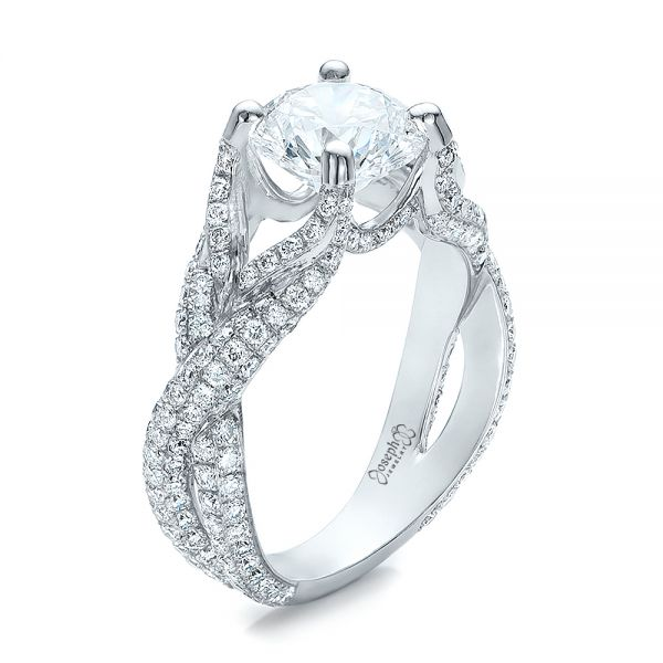 Platinum Custom Pave Diamond Engagement Ring - Three-Quarter View -  100835