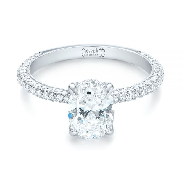 Platinum Custom Pave Diamond Engagement Ring - Flat View -  104689 - Thumbnail