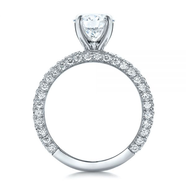 Custom Pave Diamond Engagement Ring - Front View -  100770 - Thumbnail