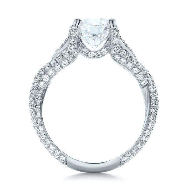 Platinum Custom Pave Diamond Engagement Ring - Front View -  100835