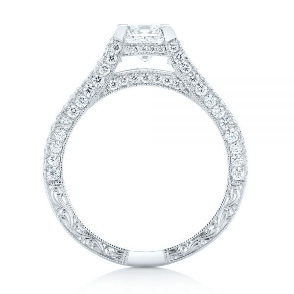 14k White Gold 14k White Gold Custom Pave Diamond Engagement Ring - Front View -