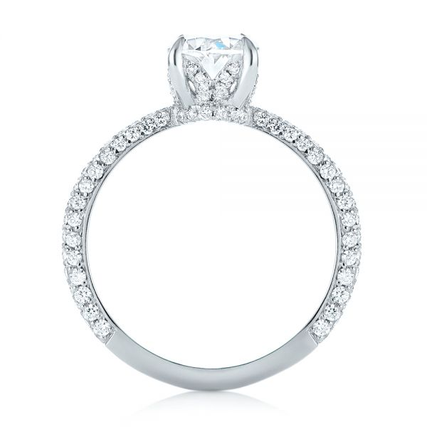 Platinum Custom Pave Diamond Engagement Ring - Front View -  104689 - Thumbnail