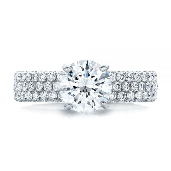 Custom Pave Diamond Engagement Ring - Top View -  100770 - Thumbnail