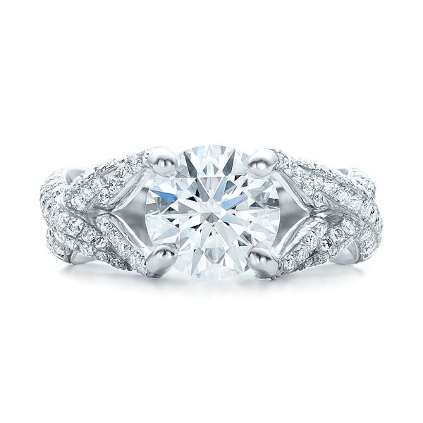 Platinum Custom Pave Diamond Engagement Ring - Top View -  100835
