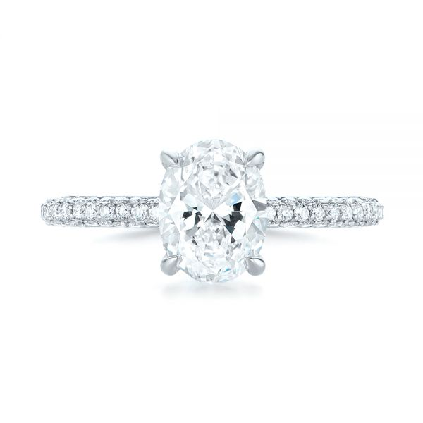 Platinum Custom Pave Diamond Engagement Ring - Top View -  104689 - Thumbnail