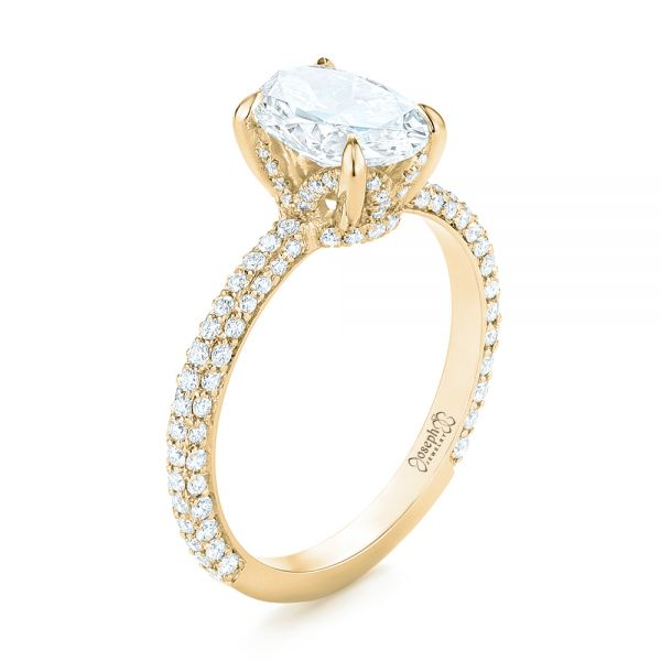 14k Yellow Gold 14k Yellow Gold Custom Pave Diamond Engagement Ring - Three-Quarter View -  104689 - Thumbnail