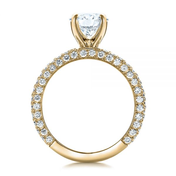 14k Yellow Gold 14k Yellow Gold Custom Pave Diamond Engagement Ring - Front View -  100770