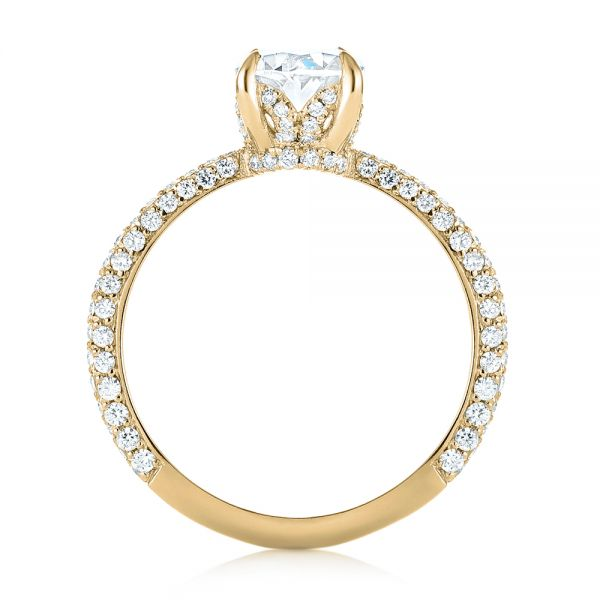 14k Yellow Gold 14k Yellow Gold Custom Pave Diamond Engagement Ring - Front View -  104689 - Thumbnail