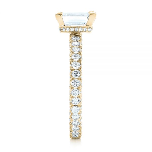 14k Yellow Gold 14k Yellow Gold Custom Pave Diamond Engagement Ring - Side View -