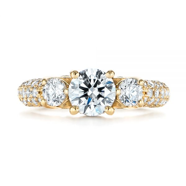 Custom Pave Diamond Engagement Ring - Top View -  104849 - Thumbnail