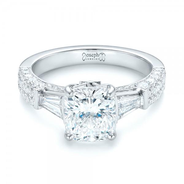 Custom Pave Diamond Engagement Ring - Laying View