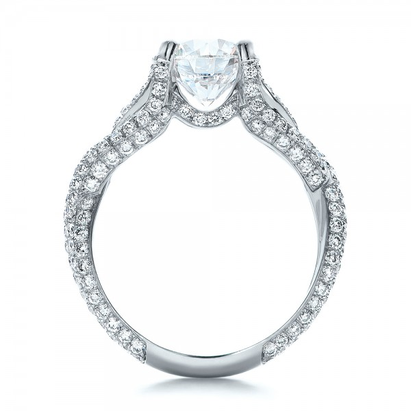 Custom Pave Diamond Engagement Ring - Finger Through View