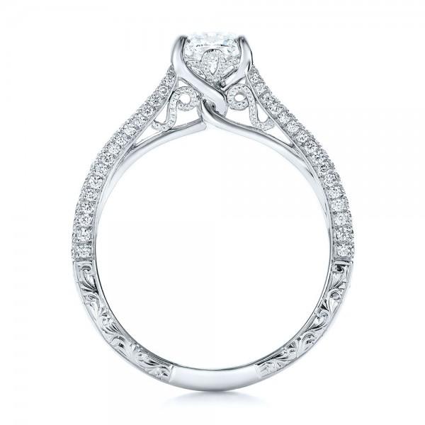 Custom Pave Diamond Engagement Ring - Finger Through View
