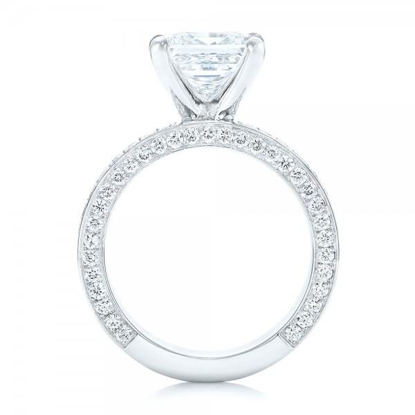 Pave Diamond Engagement Ring - Finger Through View