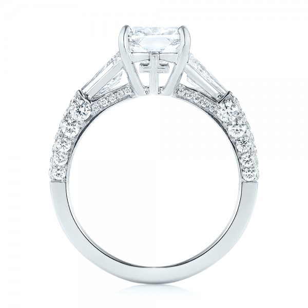 Platinum Custom Pave Diamond Engagement Ring - Front View -