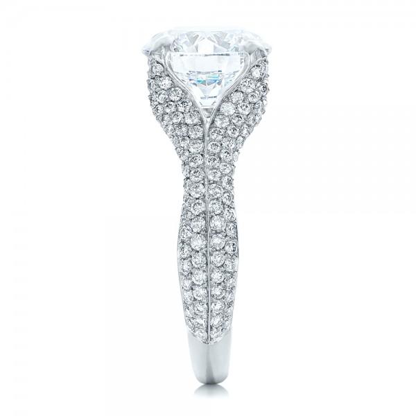 Custom Pave Diamond Engagement Ring - Side View