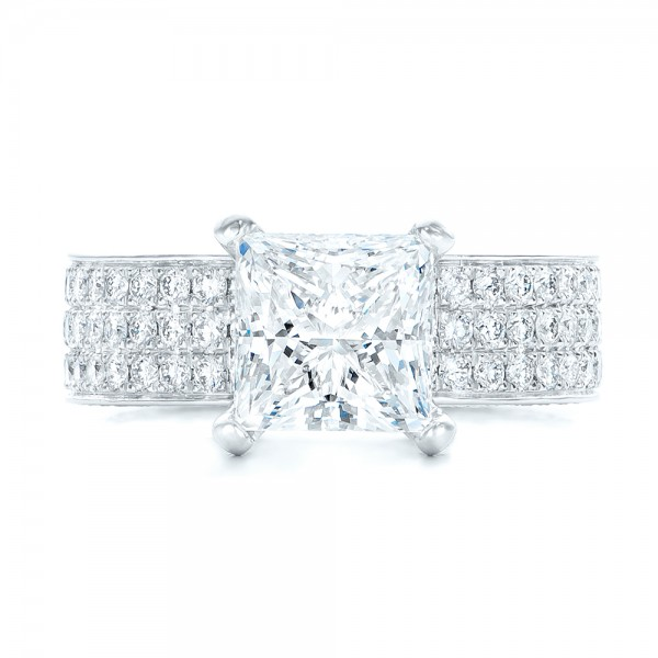 Pave Diamond Engagement Ring - Top View