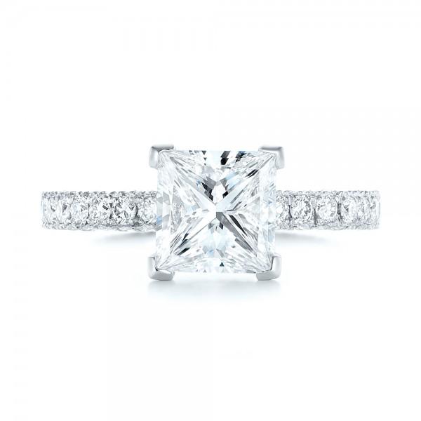 Custom Pave Diamond Engagement Ring - Top View