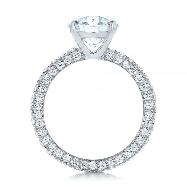 18k White Gold Custom Pave Diamond Eternity Engagement Ring - Front View -