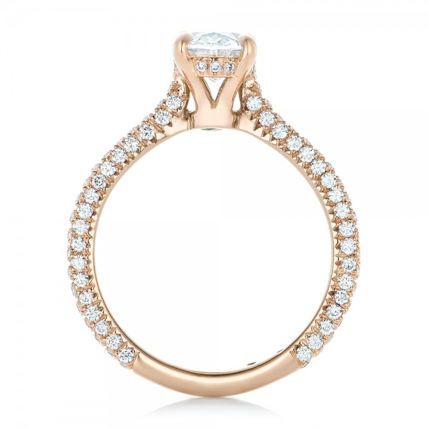 Custom Pave Diamond and Rose Gold Engagement Ring - Finger Through View