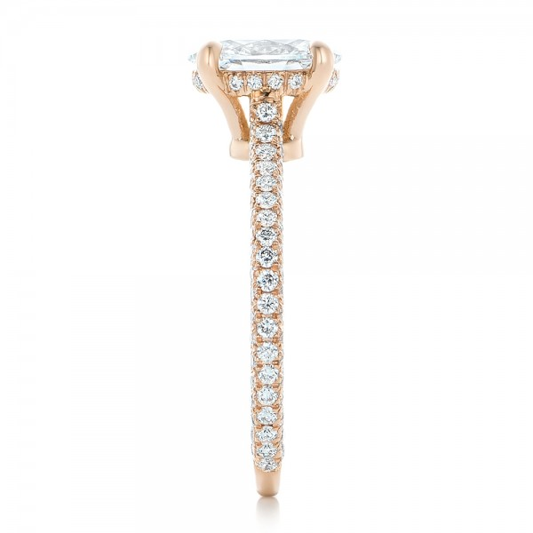 Custom Pave Diamond and Rose Gold Engagement Ring - Side View