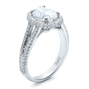 Custom Pave Halo Engagement Ring - Image