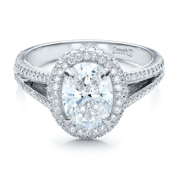 Platinum Custom Pave Halo Engagement Ring - Flat View -