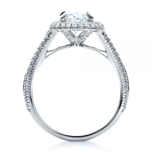 Platinum Custom Pave Halo Engagement Ring - Front View -