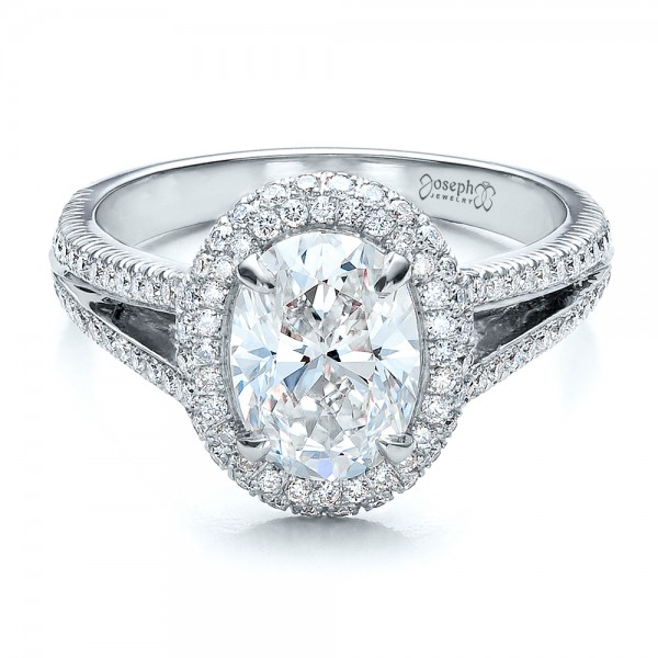 Custom Pave Halo Engagement Ring