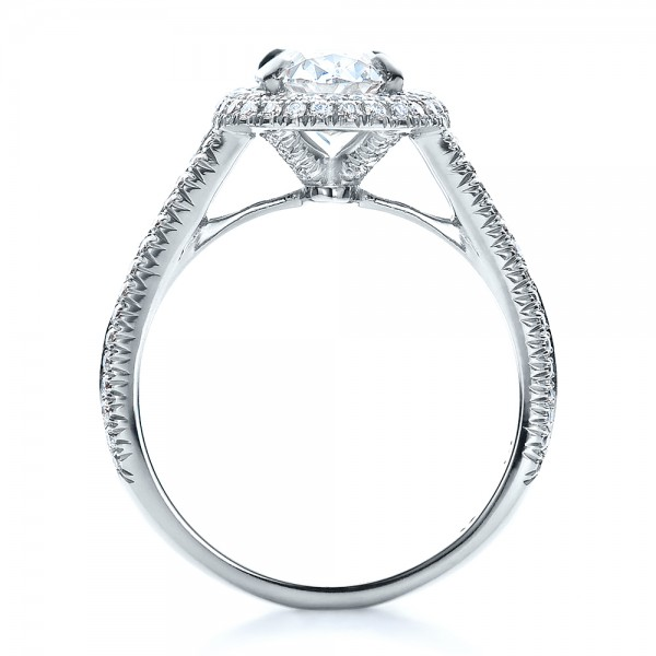 Custom Pave Halo Engagement Ring - Finger Through View