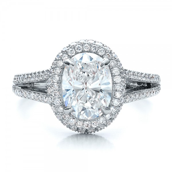 Custom Pave Halo Engagement Ring - Top View